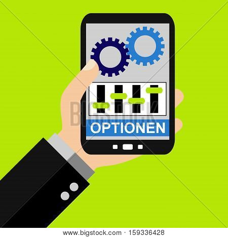 Hand holding Smartphone: Options in german language - Flat Design