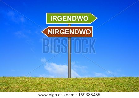 Signpost is showing Somewhere and Nowhere in german language