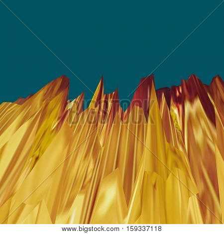 Glitch manipulation with 3D effect. Abstract landscape with sharp peaks in golden shades on dark green background. It can be used for web design and visualization of music.