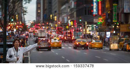 Manhattan Street Scene In Evening Time.