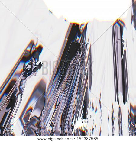 Background of glitch manipulations with 3D effect. Abstract landscape of white and blue shades with image shift. It can be used for web design and visualization of music