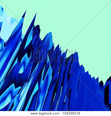 Background of glitch manipulations. Feed abstract broken stripes in blue and green shades. It can be used for web design and visualization of music