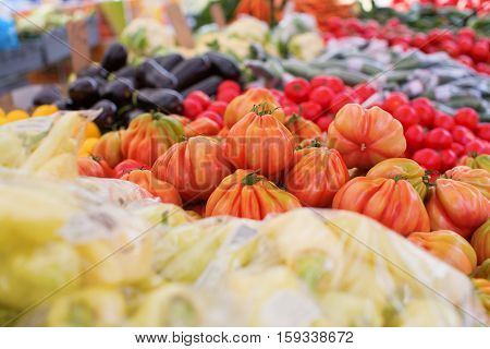 Ripe Tomatoes On A Market