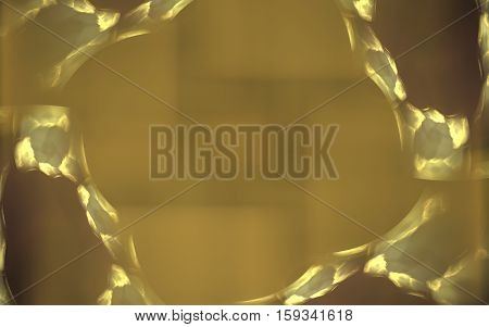 abstract illustration of a stone frame with a yellow border and blurred background with a pale gray square