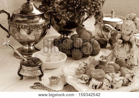 A Festive Table Setting. Image In Vintage Style. Black-and-white Image.