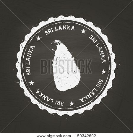 White Chalk Texture Rubber Stamp With Democratic Socialist Republic Of Sri Lanka Map On A School Bla