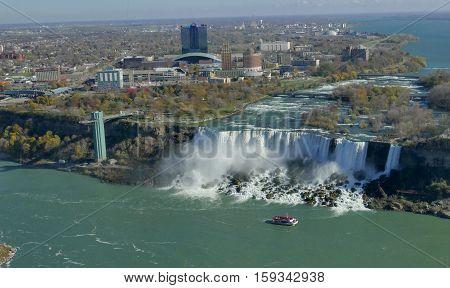 Cruise ship at Niagara fall on a sunny day