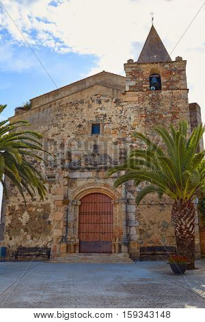 Aljucen church San Andres in Extremadura Badajoz Spain by Via de la Plata way exterior image from public ground