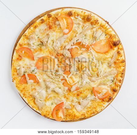 pizza on the white