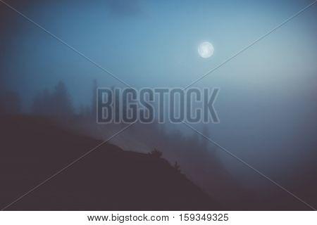 moonlit night on Andom mountain, lake Onega ,Vologda oblast, Russia