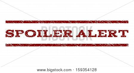 Spoiler Alert watermark stamp. Text tag between horizontal parallel lines with grunge design style. Rubber seal dark red stamp with dust texture. Vector ink imprint on a white background.