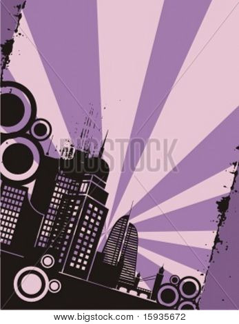Sunset cityscape silhouette background series. Check my portfolio for much more of this series as well as thousands of similar and other great vector items.