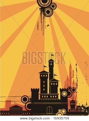 Sunshine cityscape silhouette background series. Check my portfolio for much more of this series as well as thousands of similar and other great vector items.