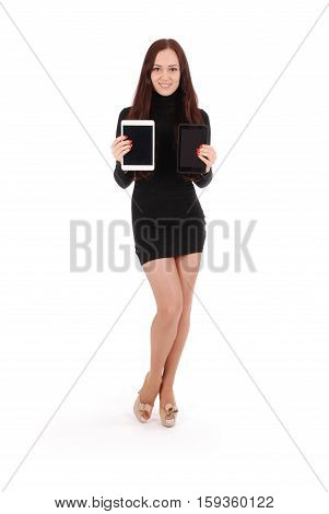 Girl keeps two tablet pc isolated on white