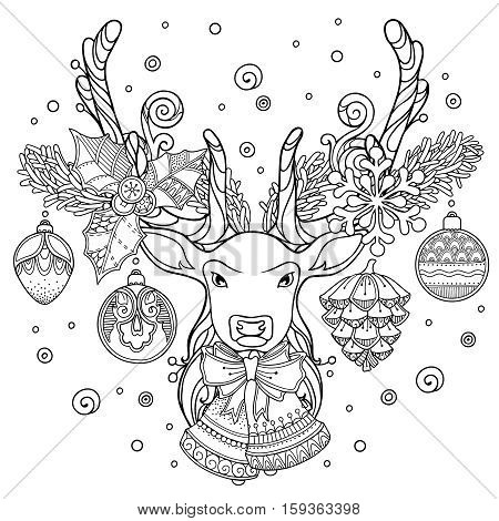 Christmas magic composition in doodle style. Floral, ornate, tribal, decor design elements. Black and white background. Christmas deer, bells, snow. Zentangle coloring book page