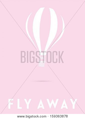 White silhouette of hot air balloon on pastel pink background. Fly Away Text below.