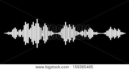 White sound waves for party isolated on black background. Vector Illustration