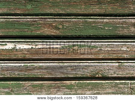 Weathered Green Color Wooden House Wall.