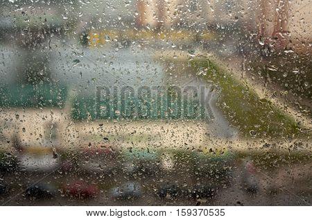 Rain Drops On Window With Blur Effect.
