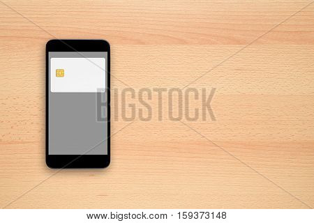 Contactless payment concept - credit card on smartphone screen