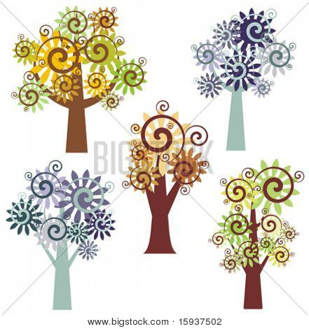 Vector fancy tree designs. Check my portfolio for more of this series as well as thousands of other great vector items.