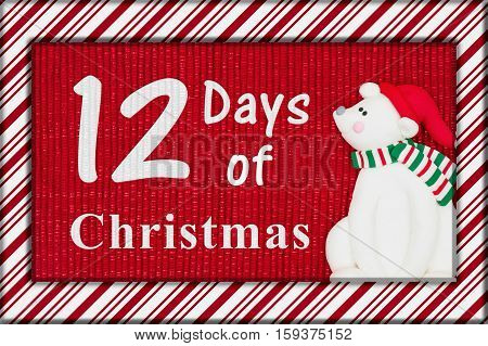 Days of Christmas message Red shiny fabric with a candy cane border and a Santa polar bear with text 12 Days of Christmas 3D Illustration