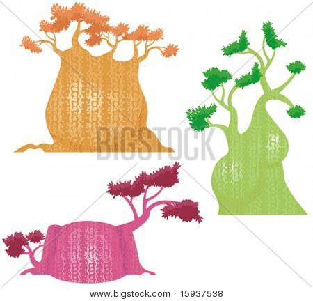 Vector decorative baobab tree designs in a single style.