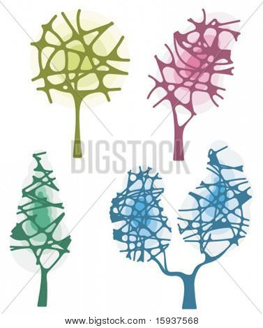Vector tree designs in an abstract style. Check my portfolio for more of this series as well as thousands of other great vector items.