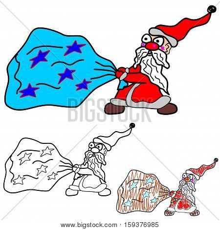 Santa Claus drags a bag of gifts. Vector illustration.