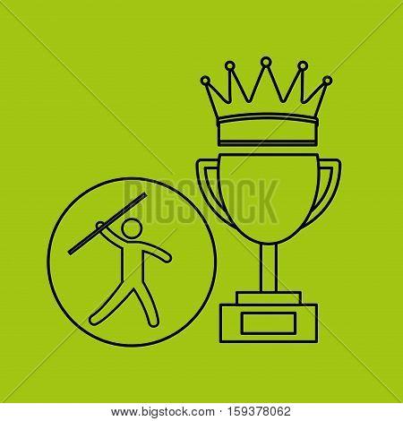 silhouette person javelin winner sport vector illustration eps 10
