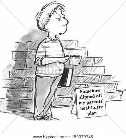 Black and white health illustration about a boy begging for money to pay for health insurance.
