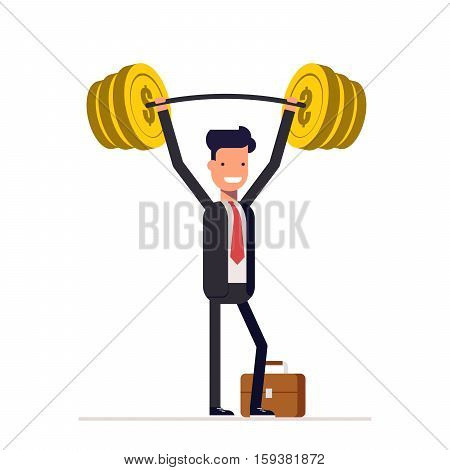 Businessman or manager, are readily raised the bar with the money. Rich man in a business suit. Vector, illustration EPS10