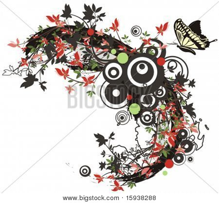 Floral foliage vector background with a swallowtail butterfly. Check my portfolio for many more of this series as well as thousands of similar and other great vector items.