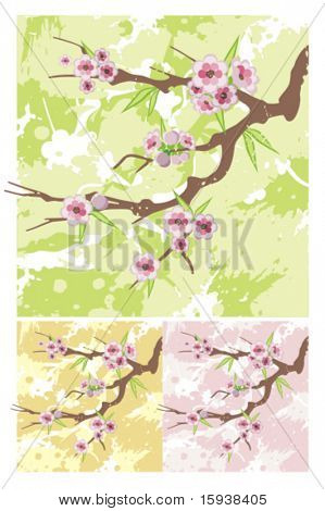 Vector floral branch background. Check my portfolio for more of this series as well as thousands of other great vector items.