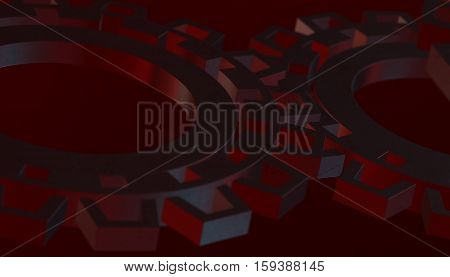 Abstract wheel industrial gears. 3d render red background