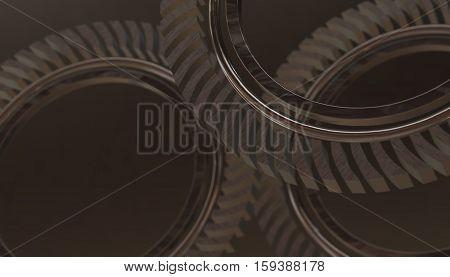 Abstract wheel industrial gears. 3d render grey  background