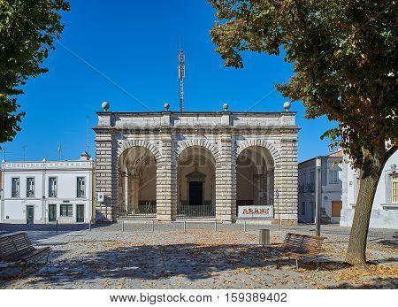 Principal Facade Of Santa Casa Da Misericordia De Beja. Alentejo. Portugal.