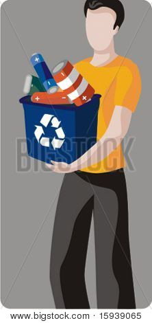 Ecology concept vector illustration series. Waste recycling.