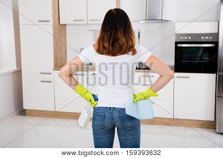 Rear View Of Woman Standing In Modern Kitchen Using Cleansing Product