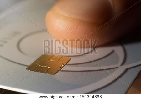 Hand With Bank Credit Plastic Card Close Up