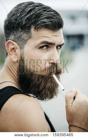 Frown Bearded Man Smoking Cigarette