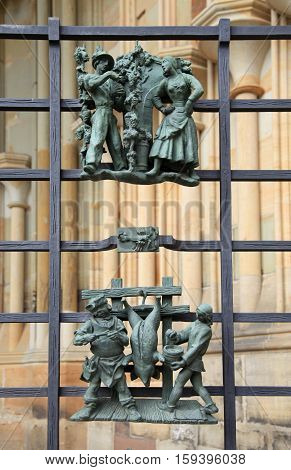 Close-up view of small cast iron figures on the cathedral of St. Vitus in Prague, Czech Republic.