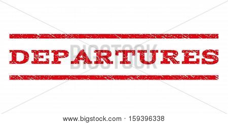 Departures watermark stamp. Text tag between horizontal parallel lines with grunge design style. Rubber seal red stamp with dirty texture. Vector ink imprint on a white background.