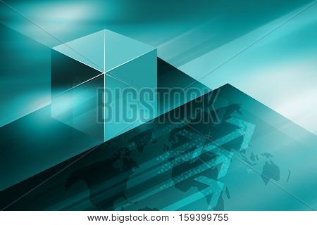 Graphical Abstract Cubical Technology Background Global Connectivity of Digital World News Background