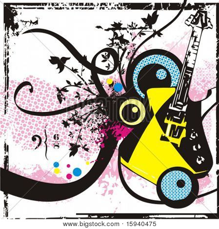 Music instrument background series, vector illustration an electric guitar with grunge details.