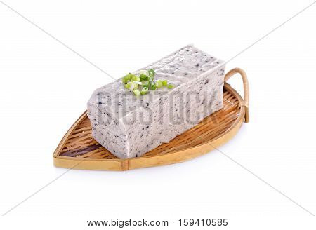 tofu mix black sesame seeds on bamboo plate with white background