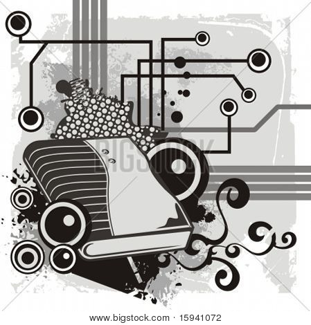 Computer related abstract background series. Vector illustration with a USB modem, and circuit and grunge details.