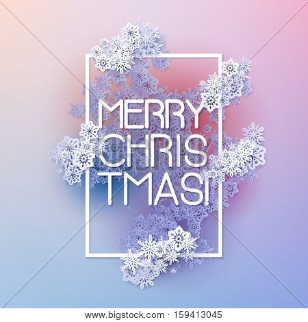 Snow frame with Merry Christmas text.. Winter frame made of snowflakes of various size. New Year, Christmas pink and purple abstract vector background.