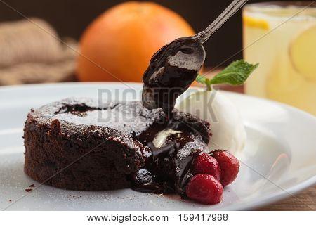 Chocolate Fondant With Strawberry And Ice Cream