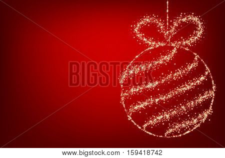 Red background with luminous Christmas ball. Vector illustration.